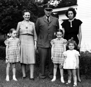 Vanceburg, circa mid-1940s. In middle, Kentucky author Jesse Stuart flanked by Lena Wells Lykins Voiers, left, and Stuart's wife Deane, right. The children are, from left, Helen Lykins and Mary Lykins, and the Stuarts' daughter Jane. (Photo courtesy of the Jesse Stuart Foundation)